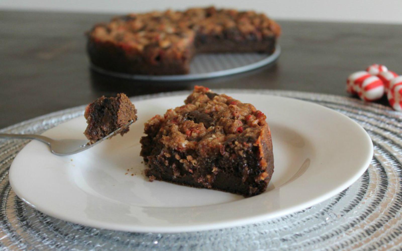 Slice of vegan peppermint mocha crumb cake