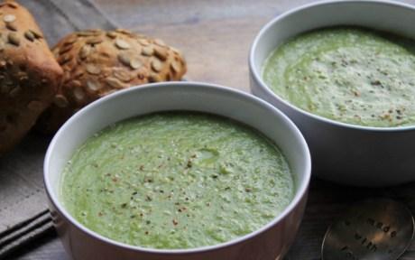 vegan green vegetables monster soup