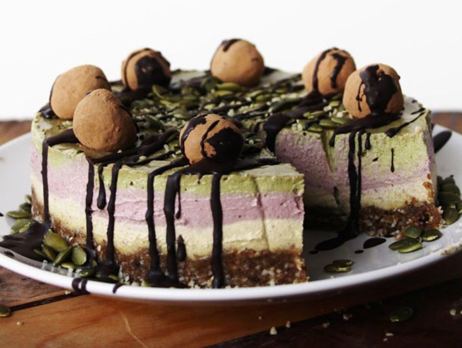 Vegan Raw Vanilla Raspberry Peppermint Cream Cake Topped With Truffles