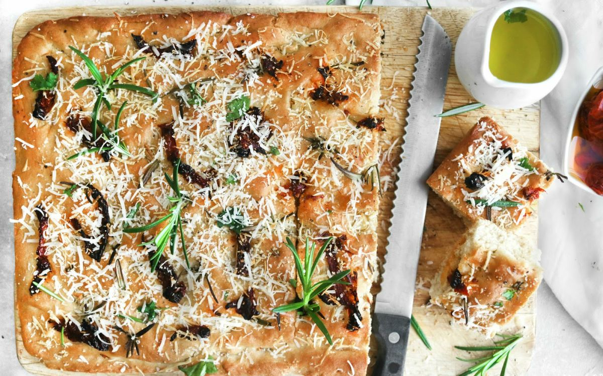 Vegan Sundried Tomato, Garlic & Rosemary Focaccia