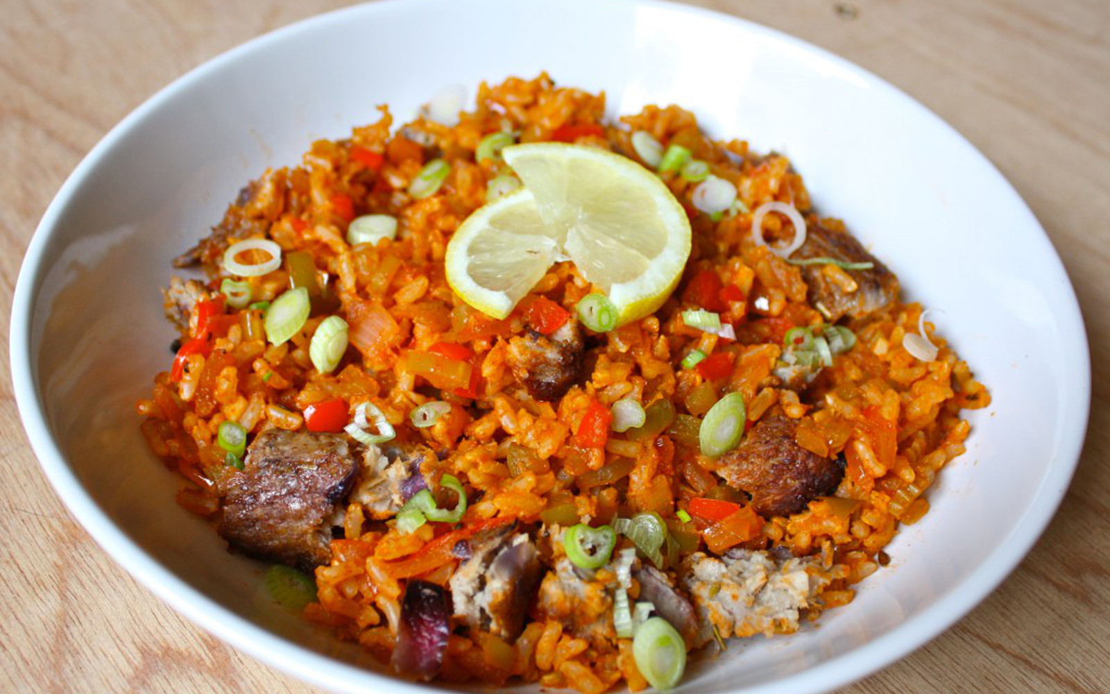 Vegan GLuten-Free Brown Rice Jambalaya topped with lemon