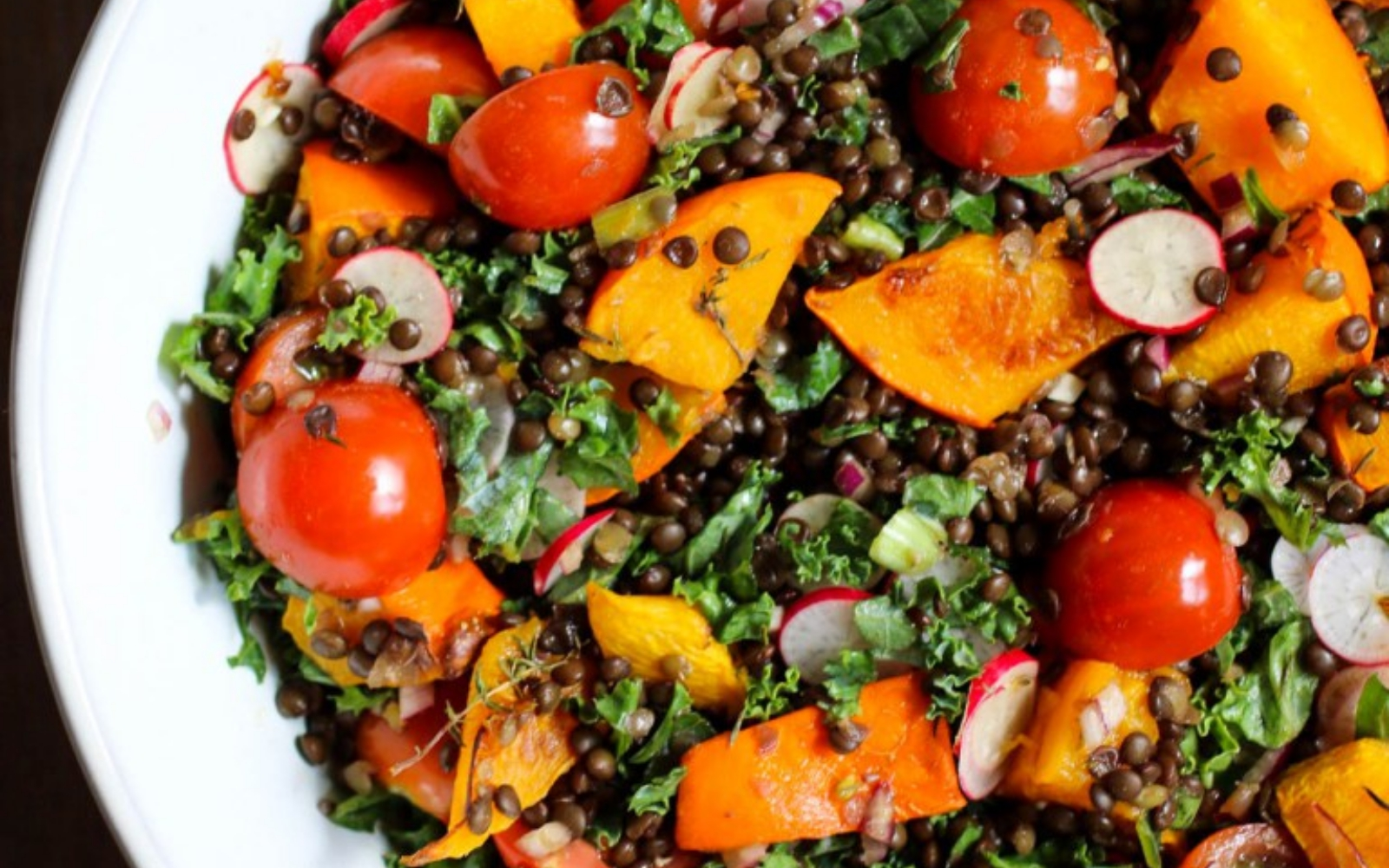 Vegan Pumpkin Salad with Black Lentils, Kale, and Cherry Tomatoes