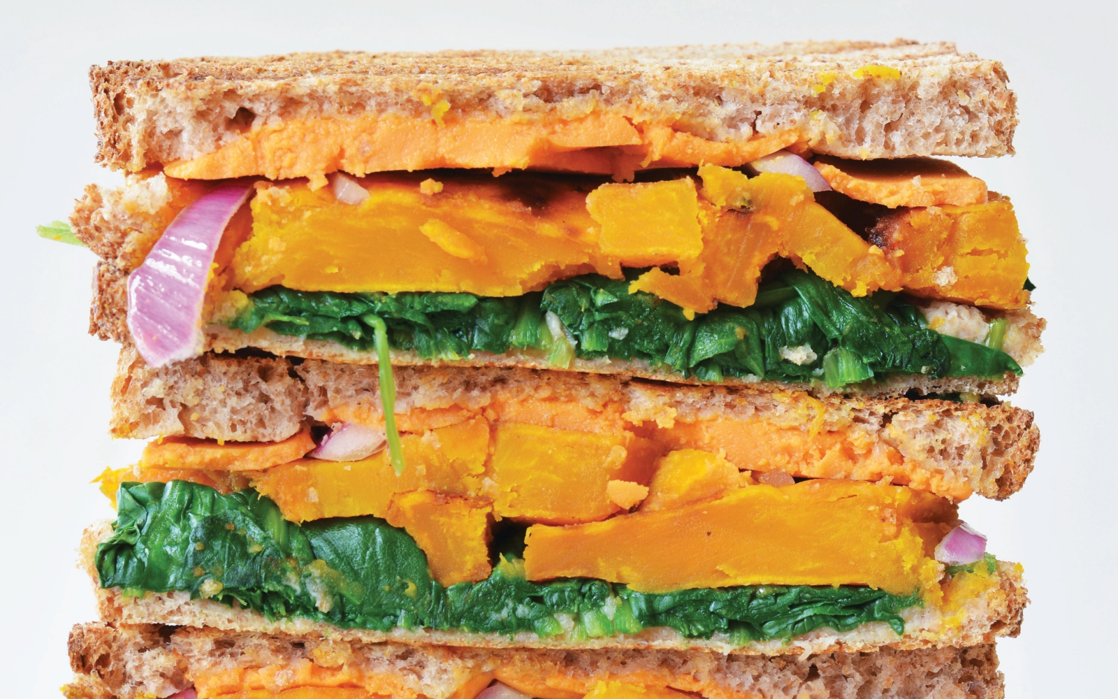 Vegan Maple-Mustard Squash Grilled Cheese with greens and onion