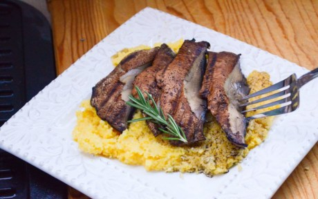 vegan portobello mushroom steaks with cheesy rosemary polenta