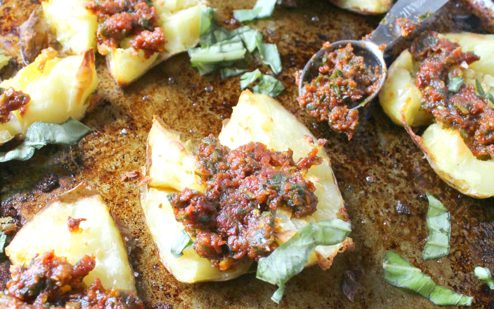 Vegan Grain-Free Smashed Potatoes With Sun-Dried Tomato Pesto