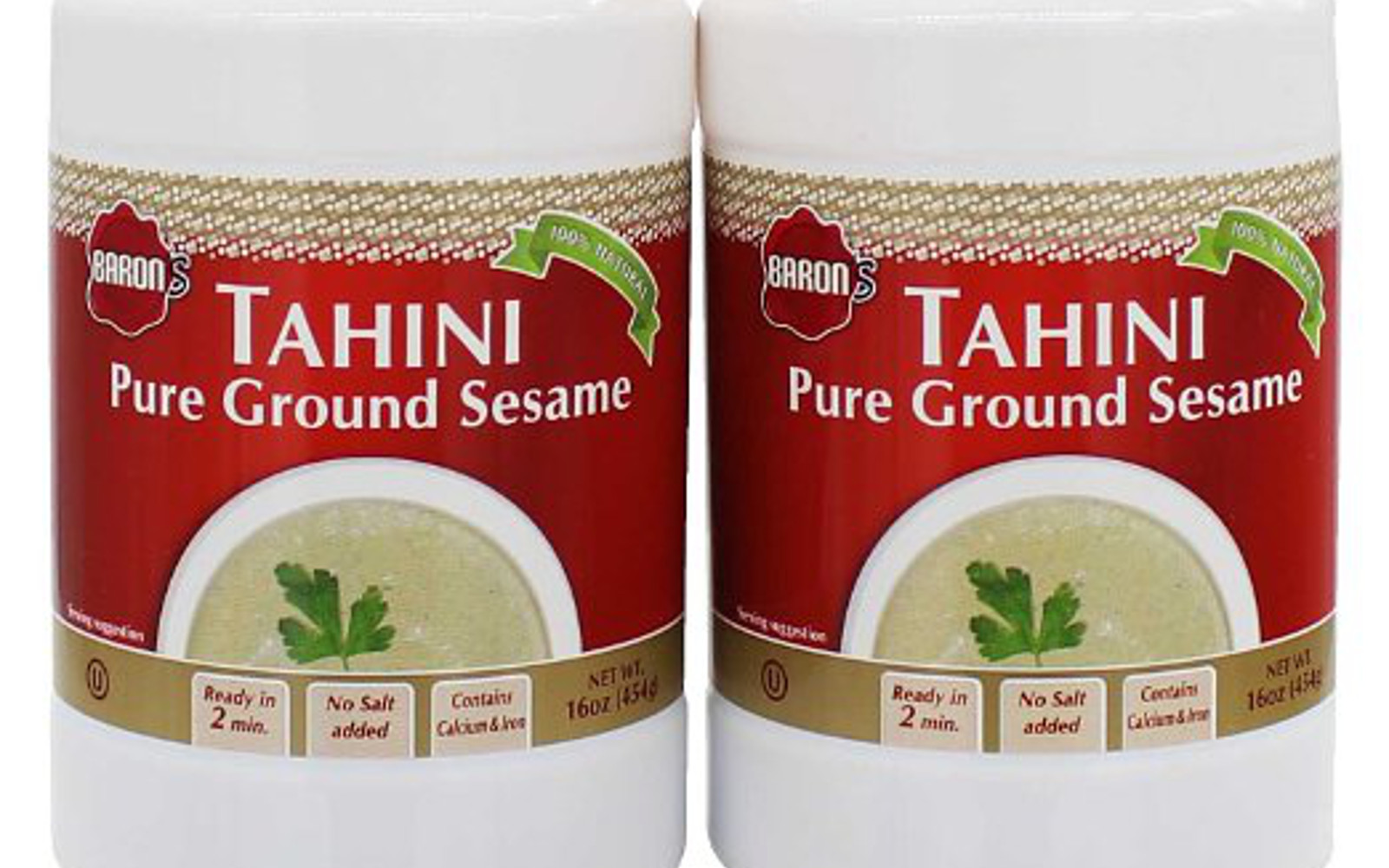 Baron's Kosher 100% Pure Ground Sesame Tahini 16-ounce Jars (Pack of 2)