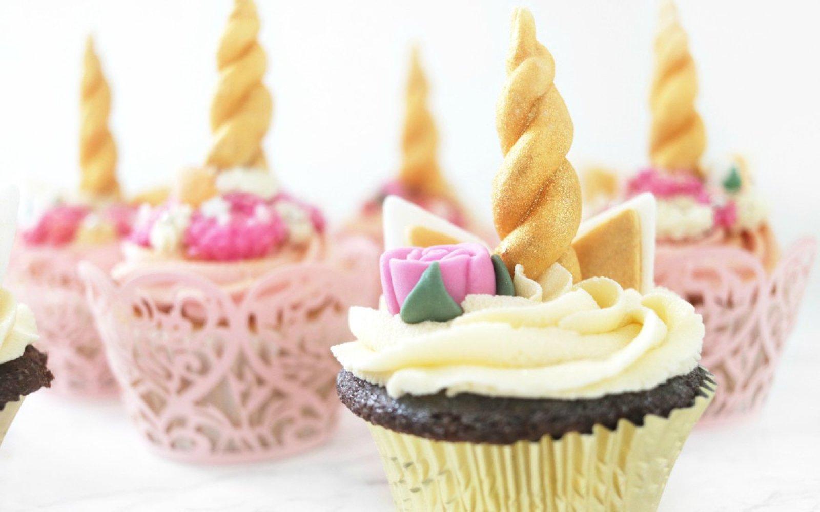 Vegan Gluten-Free Unicorn Chocolate Cupcakes With Unicorn Horn