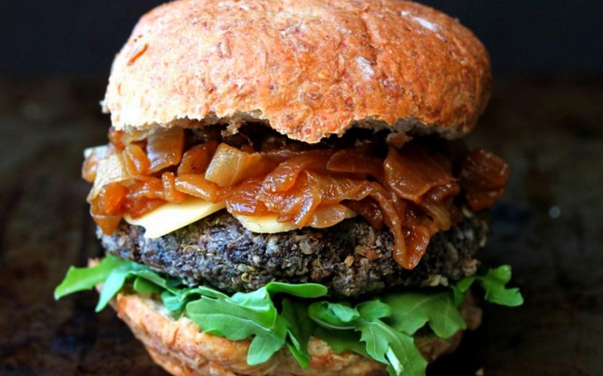 Vegan Pan-Seared Mushroom Burgers With Caramelized Onions and Arugula