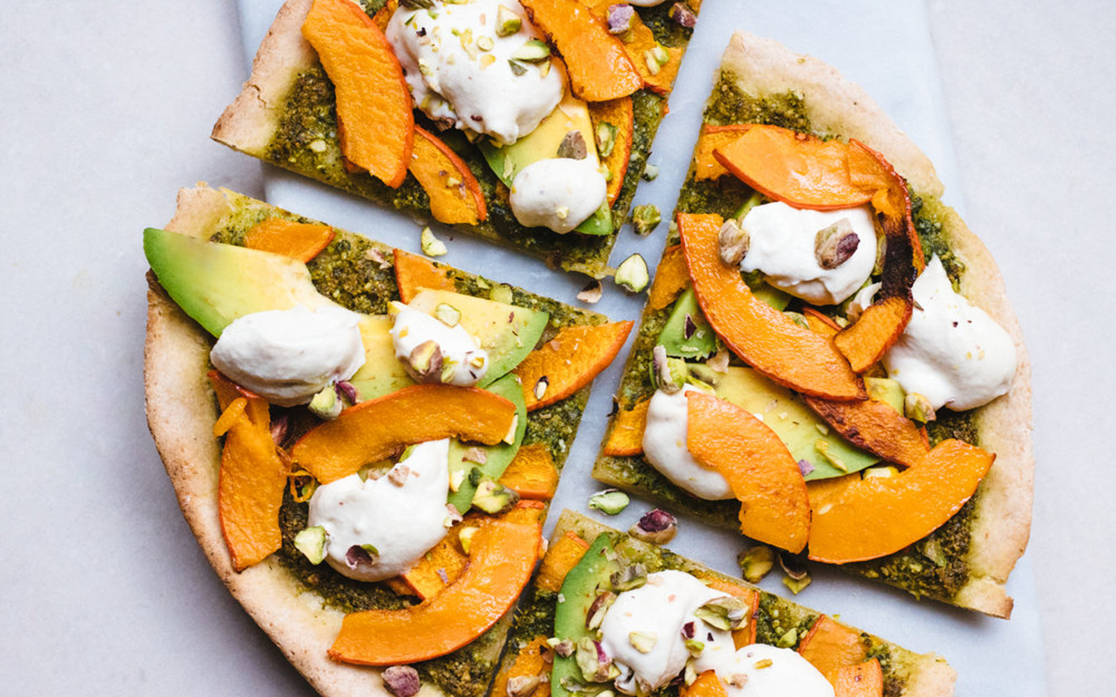 Vegan Gluten-Free Fall Harvest Pizza with avocado, vegan cheese, and pumpkin 1