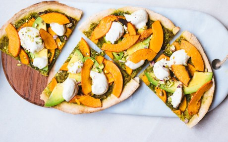 Vegan Gluten-Free Fall Harvest Pizza with avocado, vegan cheese, and pumpkin 2
