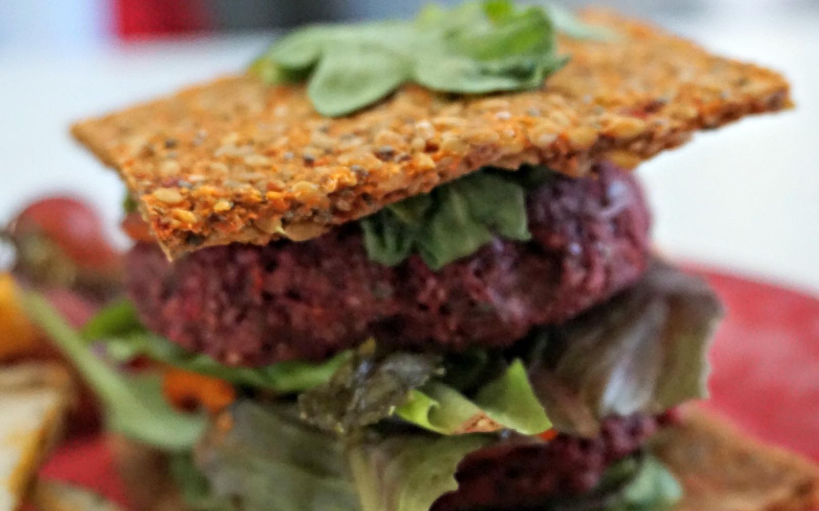 raw beet sunflower burgers