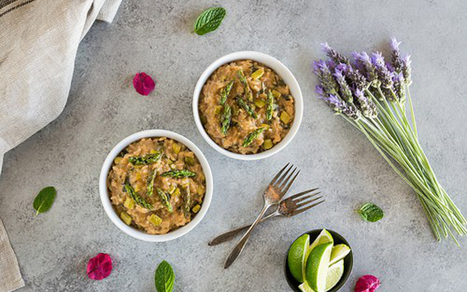 Vegan Asparagus Risotto With Lemongrass and Thai Basil