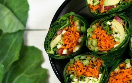 Vegan Gluten-Free Raw Hummus Wraps cut in half
