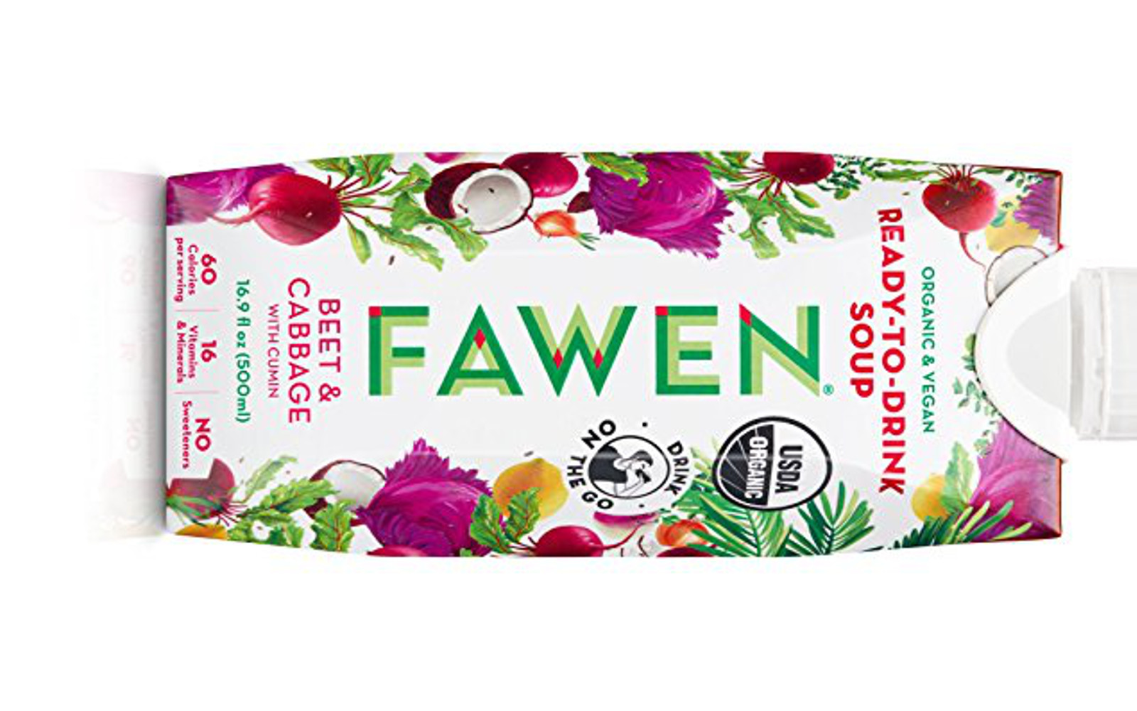 Vegan Amazon Soup Finds for #NationalSoupMonth | Fawen Ready to Drink Chilled Vegetable and Coconut Soup, Organic and Vegan Superfood, Unsweetened, Low Fat, 16 Vitamins and Minerals (Beet & Cabbage with Cumin, Single)