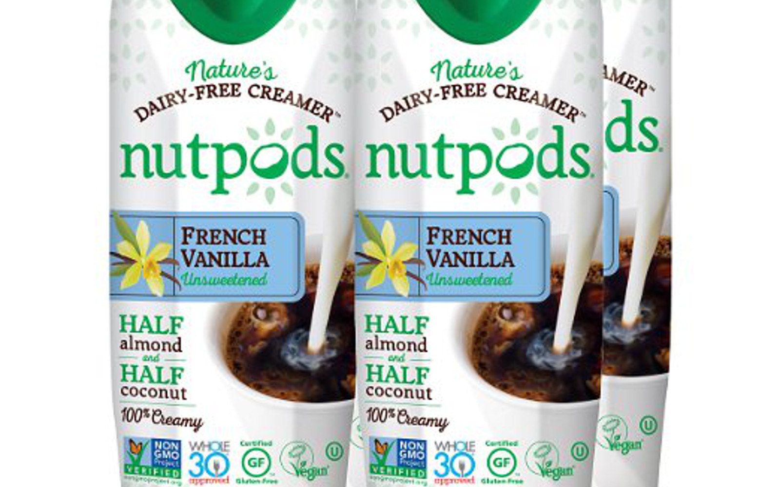 nutpods Dairy-Free Creamer Unsweetened (French Vanilla, 4-pack) - Whole30 Approve