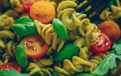 Vegan Gluten-Free Oil-Free Avocado Pesto Pasta with arugula and cherry tomatoes