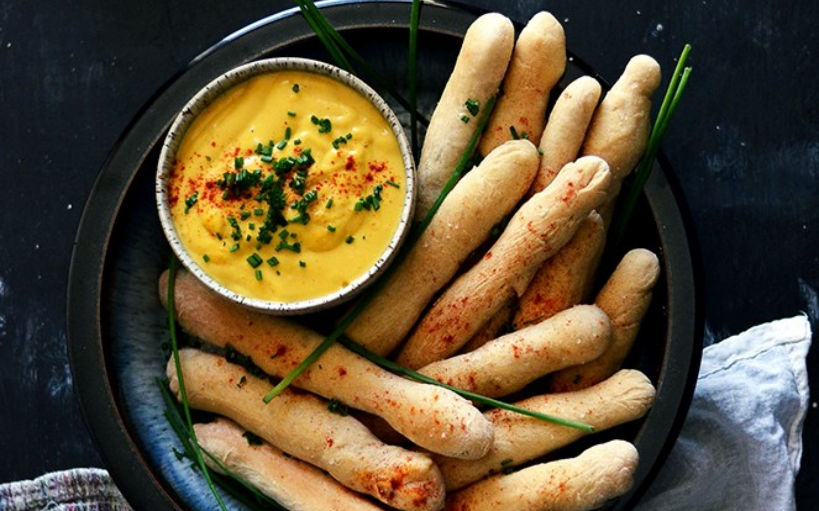 Vegan Bread Dunkers With Cheese Sauce