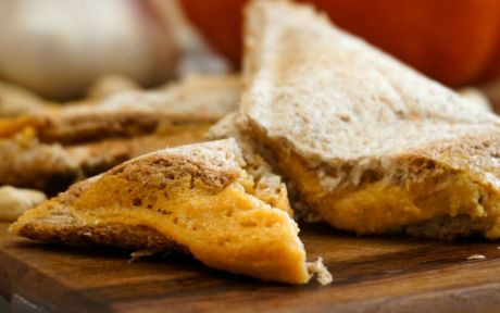 Vegan Pumpkin Grilled Cheese cut in half