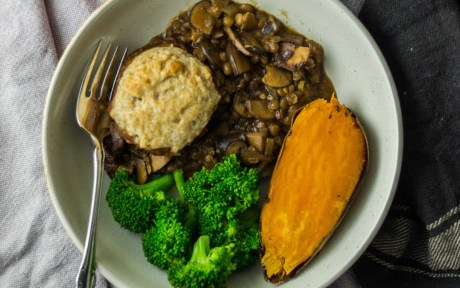 Vegan Mushroom and Lentil Pot-Pie with Olive Oil Biscuits paired with broccoli and sweet potato