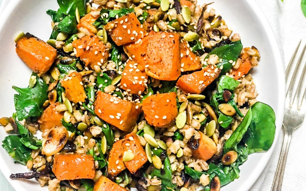 Roasted Pumpkin Za'atar Spinach Barley Bowl With Tahini Dressing
