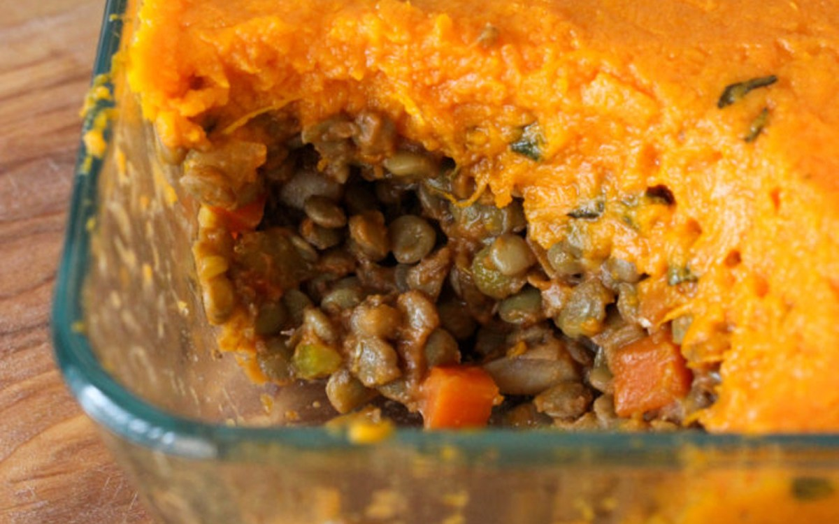 Vegan Sweet Potato and Sage Lentil Shepherd's Pie