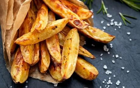 Vegan Fried potato wedges with salt