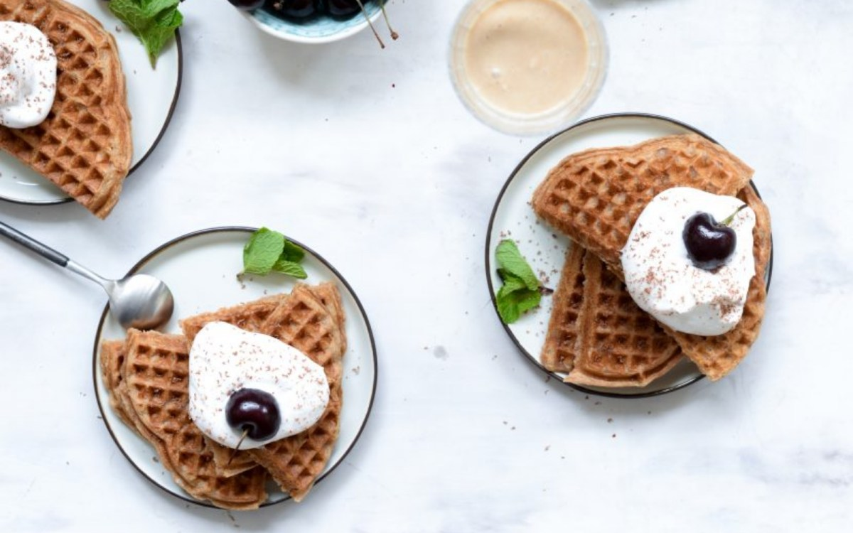 Vegan Bailey's Waffles With Whipped Cream