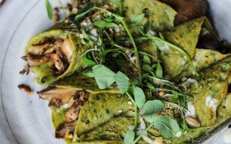 Vegan Gluten-Free Buckwheat Spinach Crepes with Mushrooms, Basil Pesto and Tahini Dressing