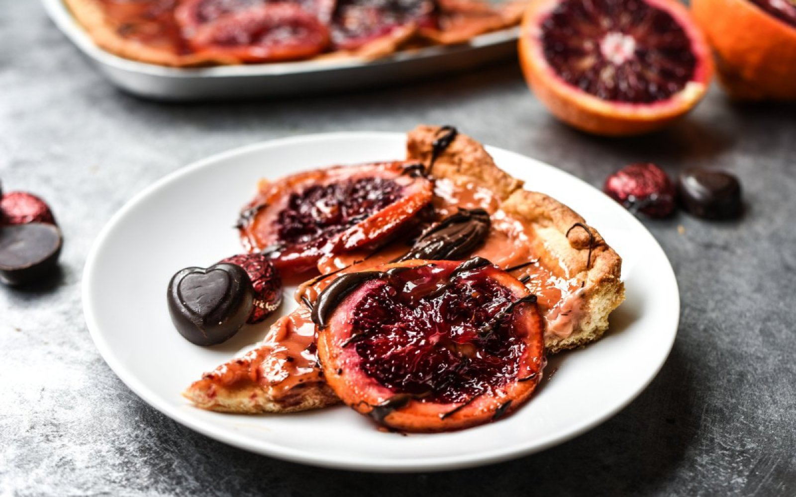 Vegan Chocolate Drizzled Blood Orange Cream Tart