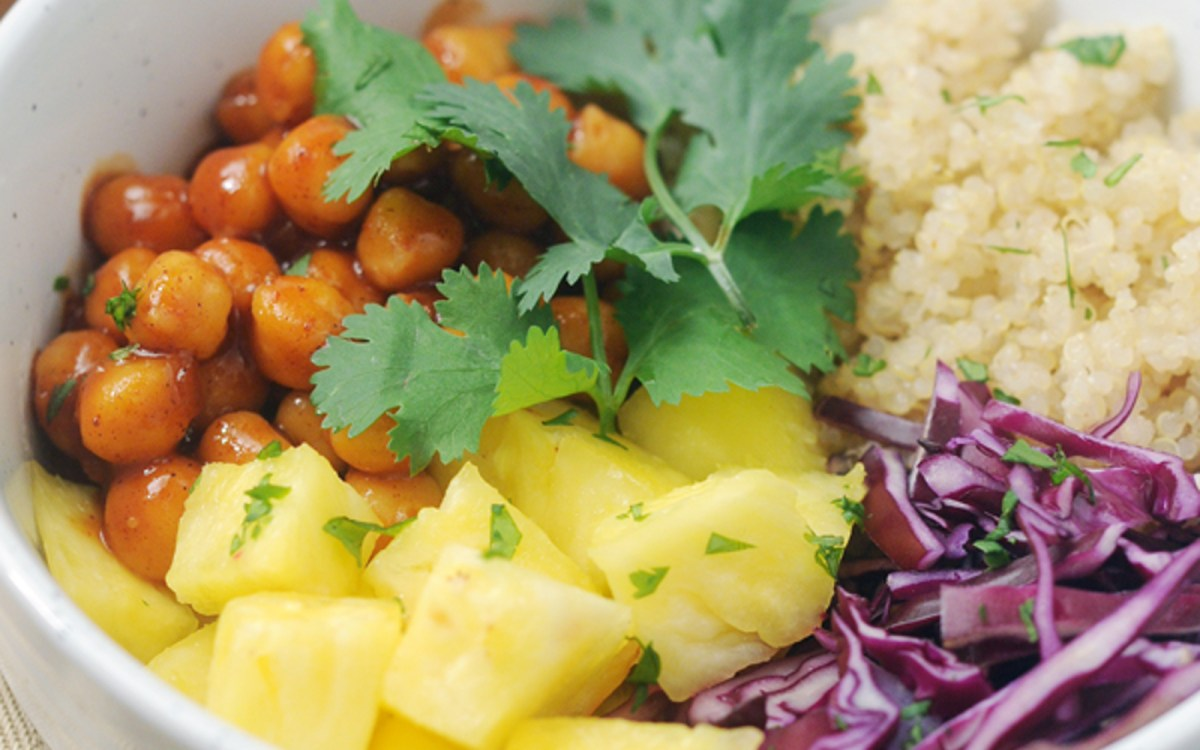 Vegan Barbecue Chickpea Hawaiian Bowls