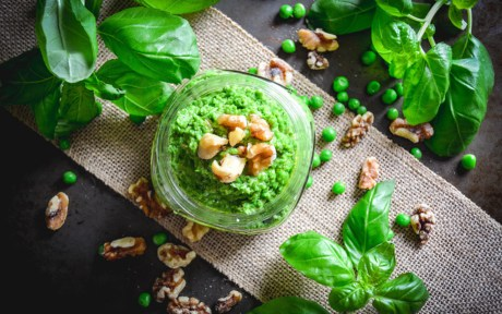 Vegan Gluten-Free Pea and Walnut Pesto with fresh herbs