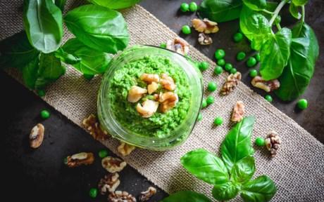 Vegan Gluten-Free Pea and Walnut Pesto with fresh herbs