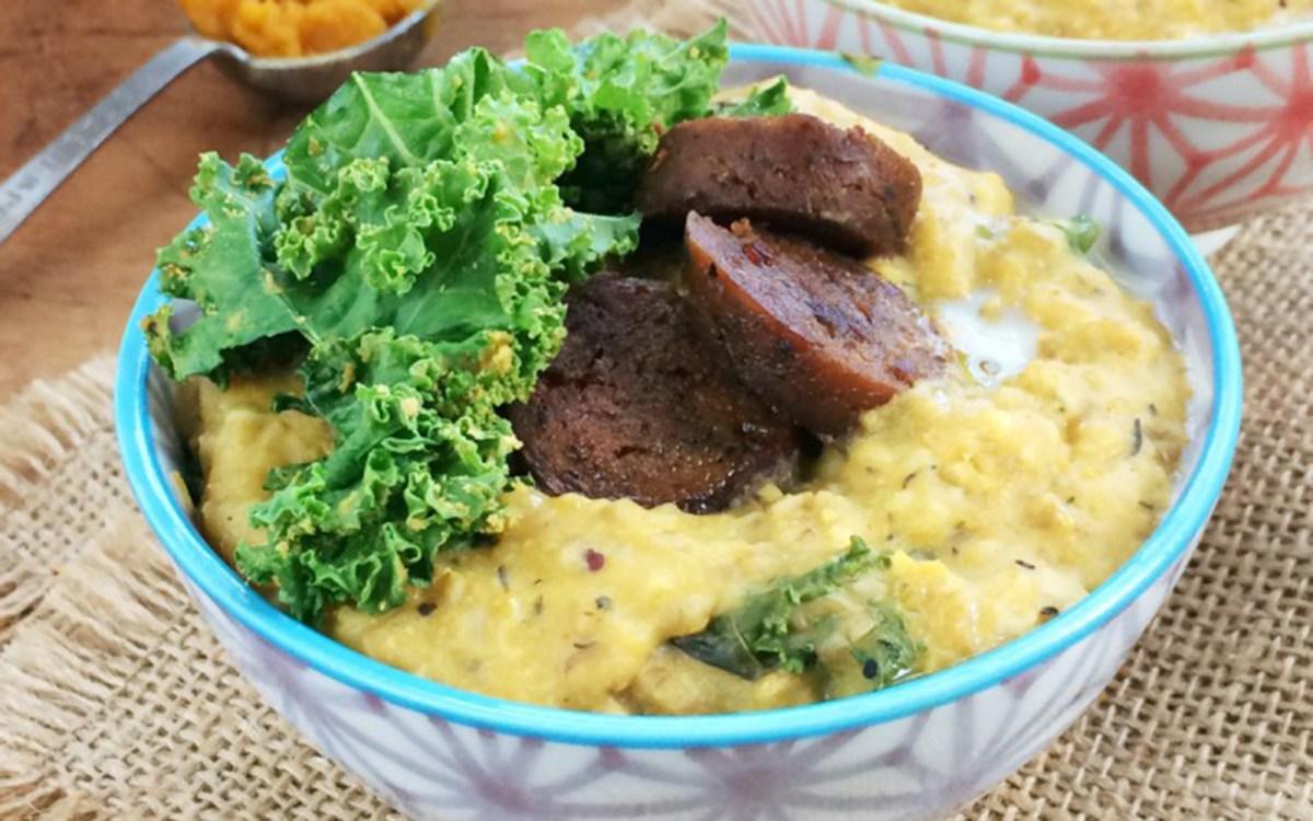 Vegan Pumpkin and Kale Steel-Cut Oatmeal With Sausage