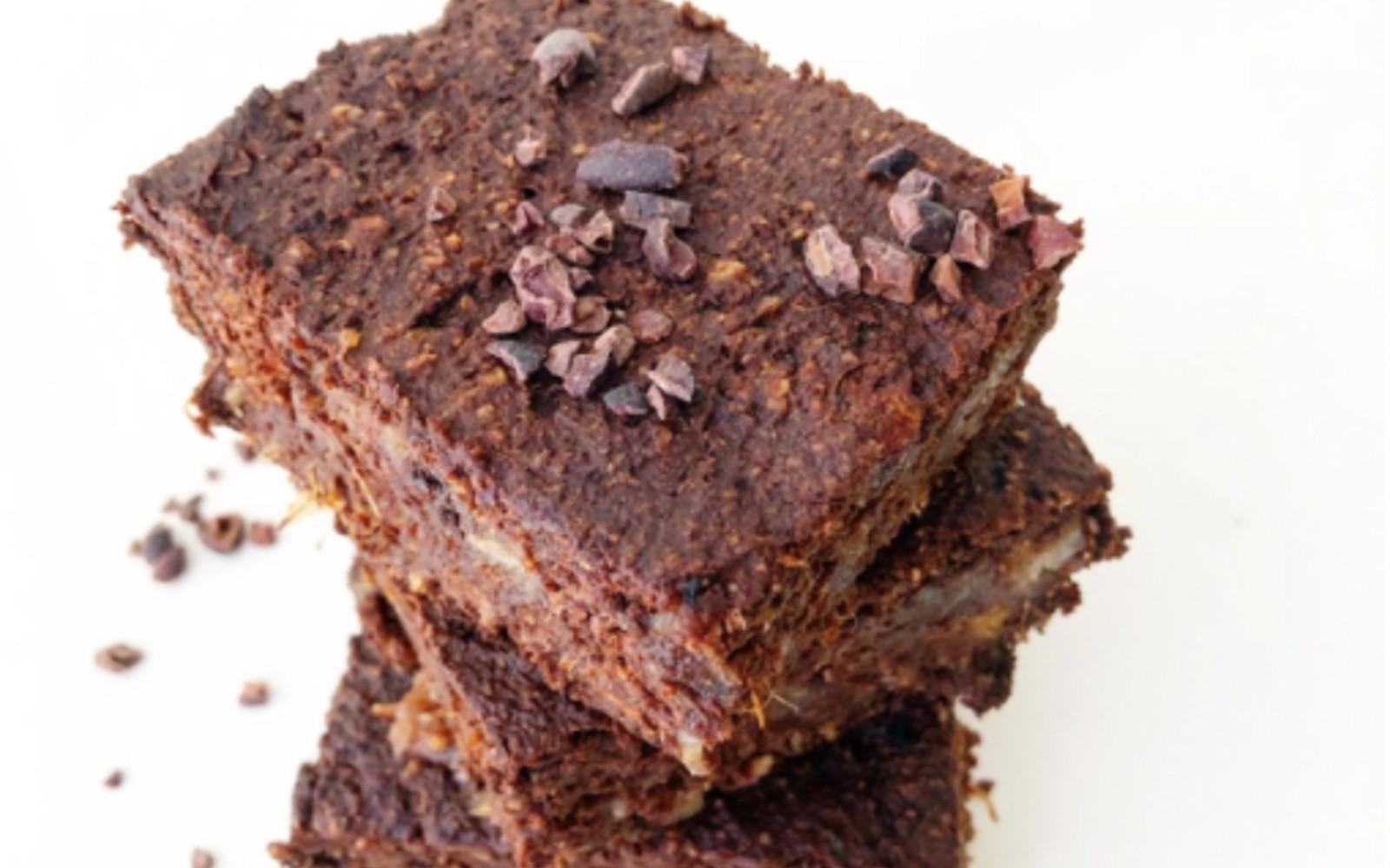 Fudgy Sweet Potato Brownies [Vegan, Gluten-Free] with cacao nib topping