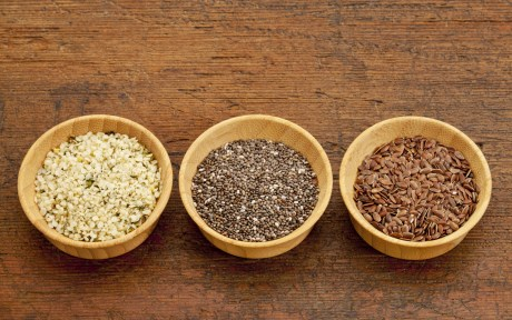 flax meal, chia seeds, and hemp seeds