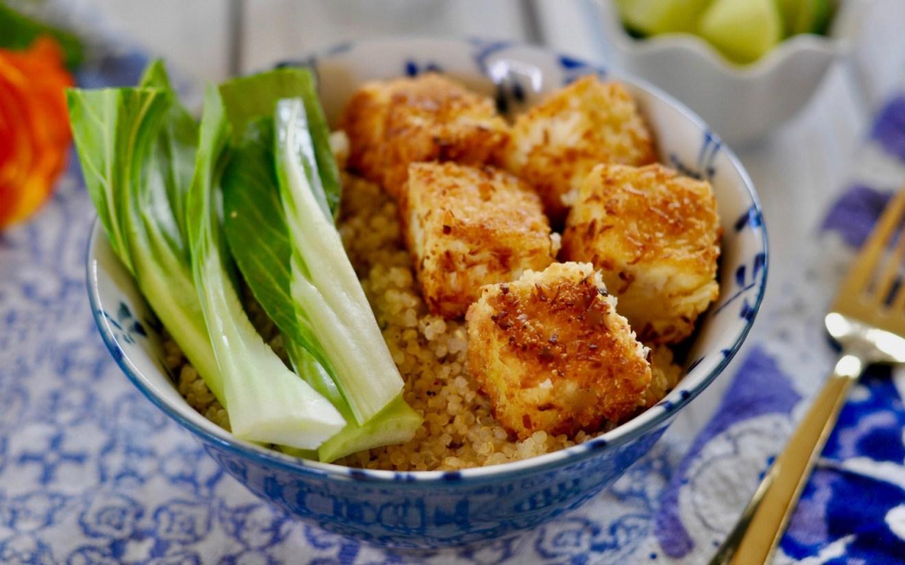 Vegan Easy Baked Tofu With Coconut Panko Breadcrumb Crust