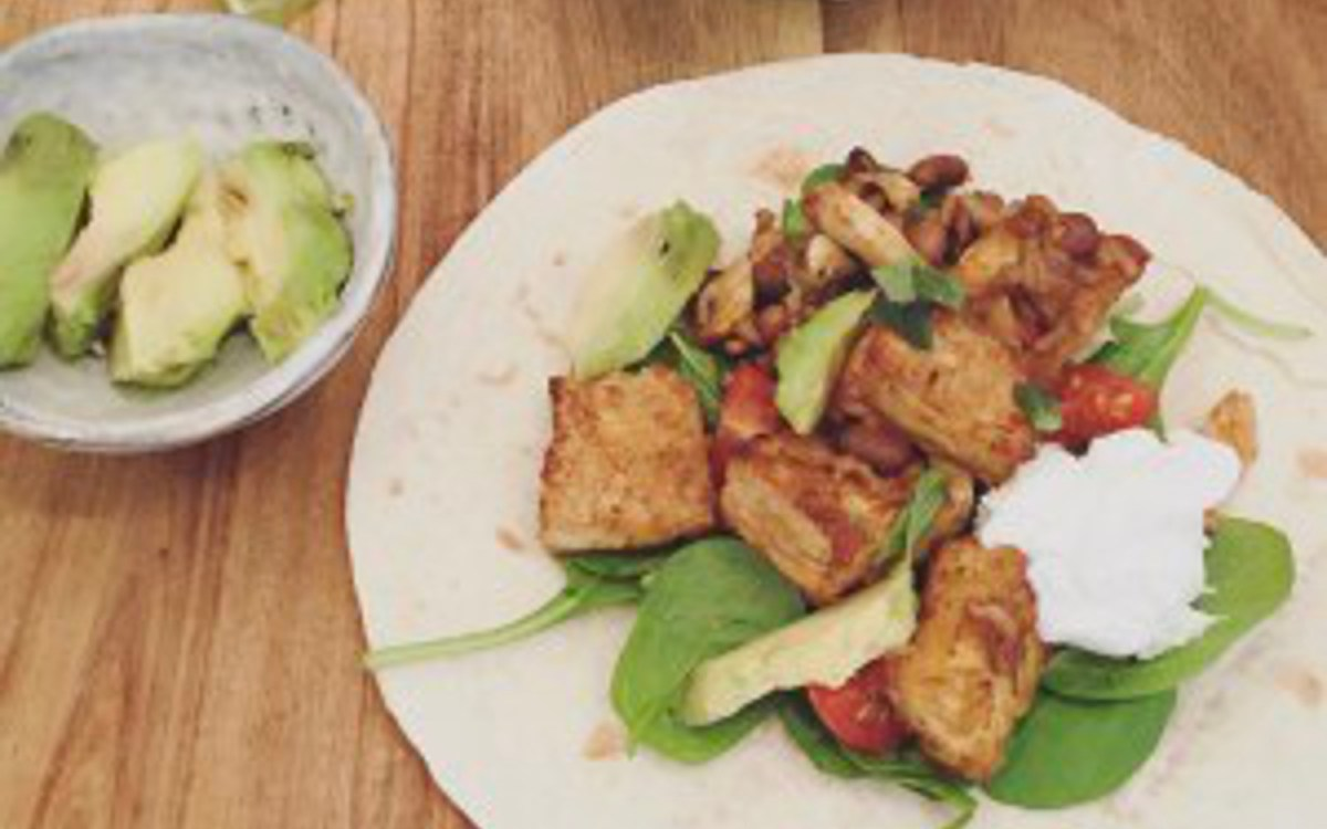 Crispy Tofu and Black Bean Fajitas