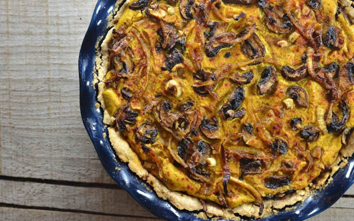 Crimini Mushroom and Caramelized Onion Deep Dish Quiche