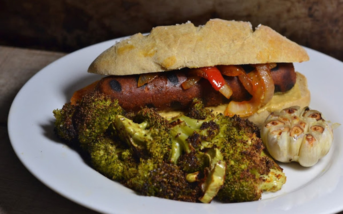 Vegan Sausages with Homemade Buns and Roasted Broccoli