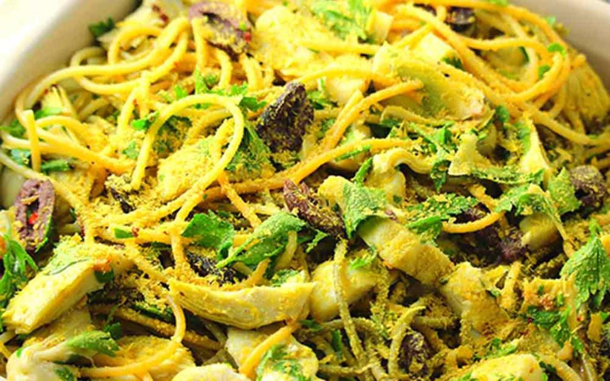 Vegan Artichoke and Olive Spaghetti