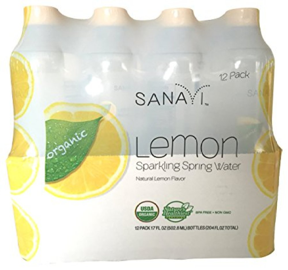 Sanavi Organic Sparkling Spring Water Bottle, Lemon