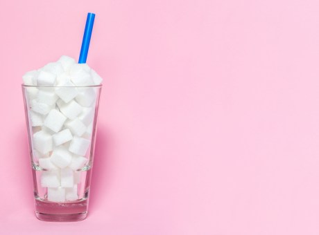 Glass of sugar cubes