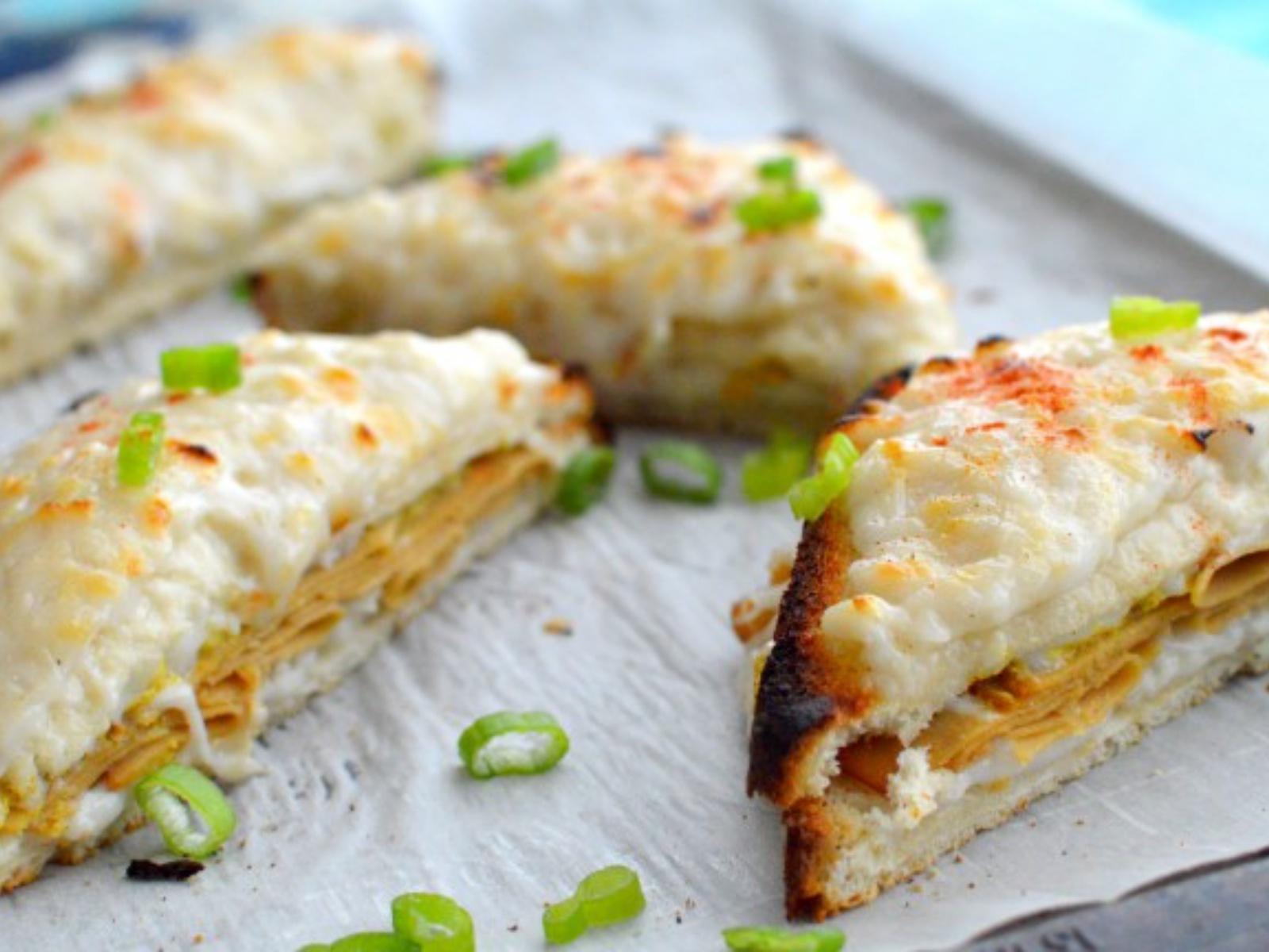 Vegan Croque Monsieur with vegan cheese, deli slices and bechamel sauce