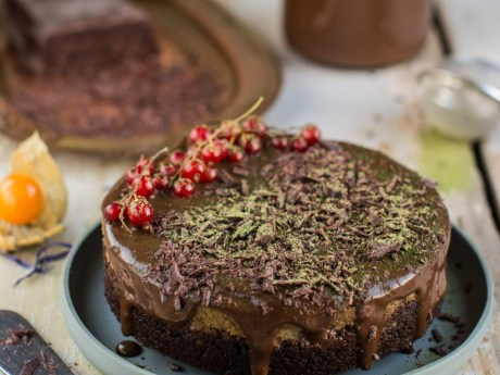 Matcha Cake with Cherries