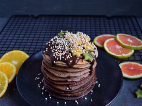 Healthy Chocolate Ombre Pancakes