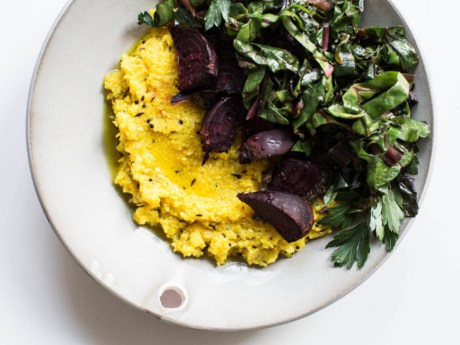 Turmeric Polenta with Roasted Beets and Greens