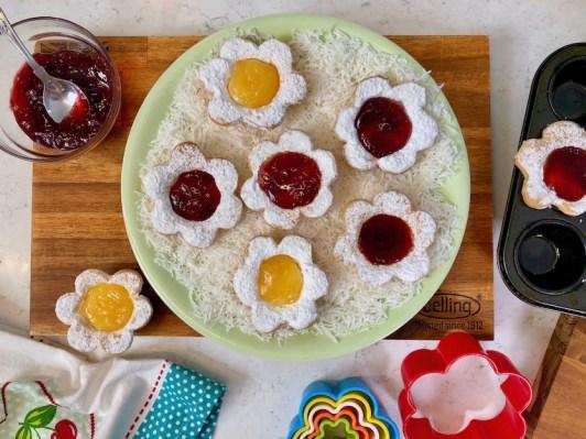 Flower tarts, lemon curd, jam, cream cheese, one handed baker, Rachel Hart