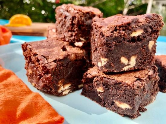 chocolate orange brownies, brownie recipe, one handed baker, Rachel Hart