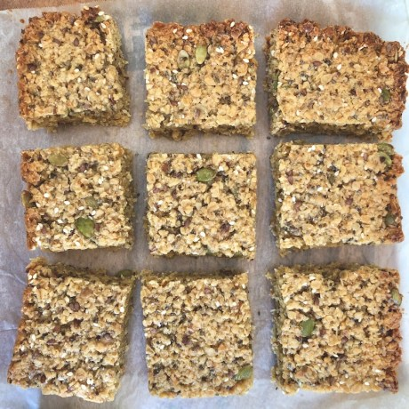 Honey Seed flapjacks, chia seeds, pumpkin seeds, easy recipe, one handed baker