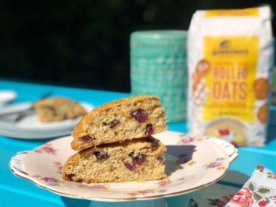 cranberry, oat scones, harraways, one handed baker, easy recipe